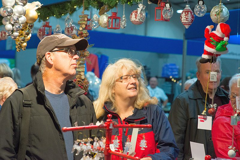 Admiring baubles at the Christmas Shopping Fayre