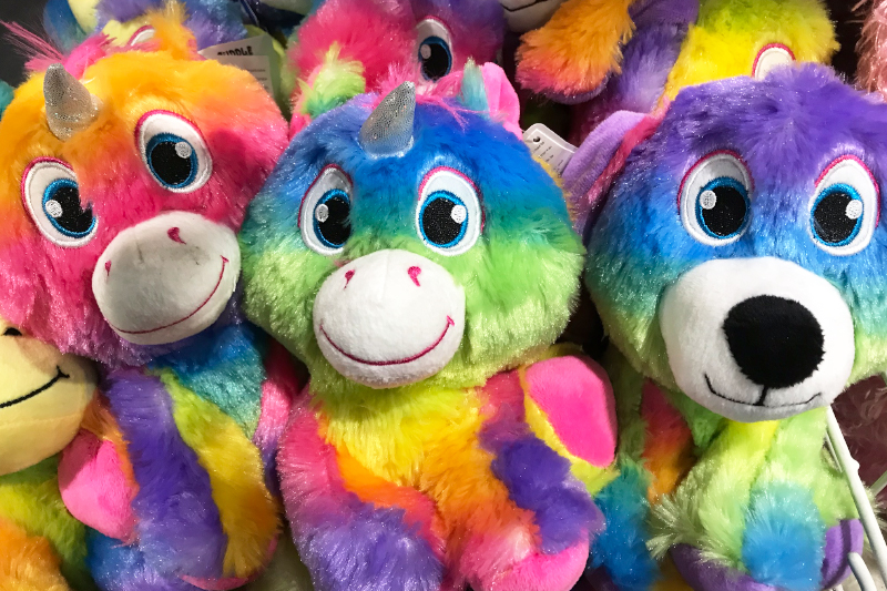 Cute unicorn toys at the Christmas Shopping Fayre
