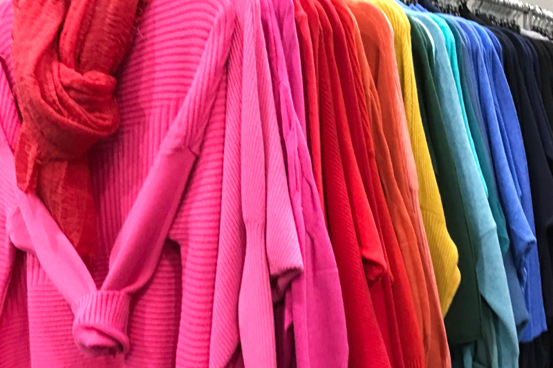 Colourful winter jumpers at the Christmas Shopping Fayre at Westpoint, Exeter.